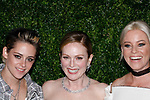 (L-R) Actresses Kristen Stewart, Julianne Moore and Elizabeth Banks arrive at the MoMa Film Benefit Tribute to Julianna Moore presented by Chanel, at the Musuem of Modern Art in New York City, on November 13, 2017.