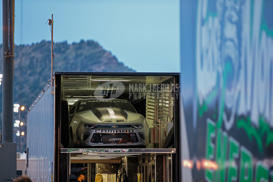 Jul 21, 2018; Morrison, CO, USA; The car of NHRA pro stock driver Chris McGaha is loaded up on the trailer following qualifying for the Mile High Nationals at Bandimere Speedway. Mandatory Credit: Mark J. Rebilas-USA TODAY Sports
