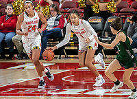 COLLEGE PARK, MD - DECEMBER 8: Shakira Austin #1 of Maryland starts upcourt during a game between Loyola University and University of Maryland at Xfinity Center on December 8, 2019 in College Park, Maryland.