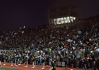 PERKASIE, PA - SEPTEMBER 26: A crescent moon sets as fans watch Neshaminy play Pennridge at Pennridge High School at the school's new stadium September 26, 2014 in Perkasie, Pennsylvania. (Photo by William Thomas Cain/Cain Images)