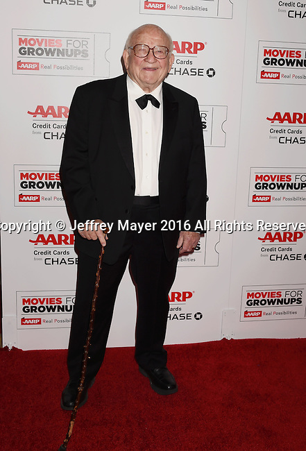 BEVERLY HILLS, CA - FEBRUARY 08: Actor Ed Asner attends AARP's Movie For GrownUps Awards at the Regent Beverly Wilshire Four Seasons Hotel on February 8, 2016 in Beverly Hills, California.