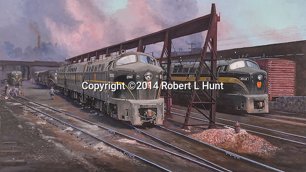Baldwin Shark locomotives on the service track in the East Altoona complex circa 1950's. Oil on canvas, 17x30.