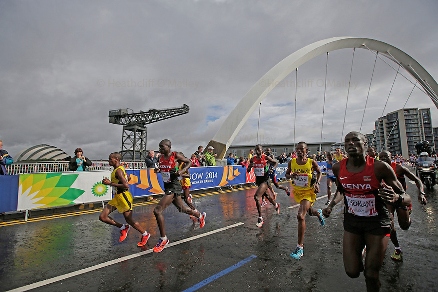 Mcc0055084 . Daily Telegraph<br /> <br /> The Men's Marathon crosses the Clyde Arc Bridge on Day Four of the 2014 Commonwealth Games in Glasgow .<br /> <br /> 27 July 2014