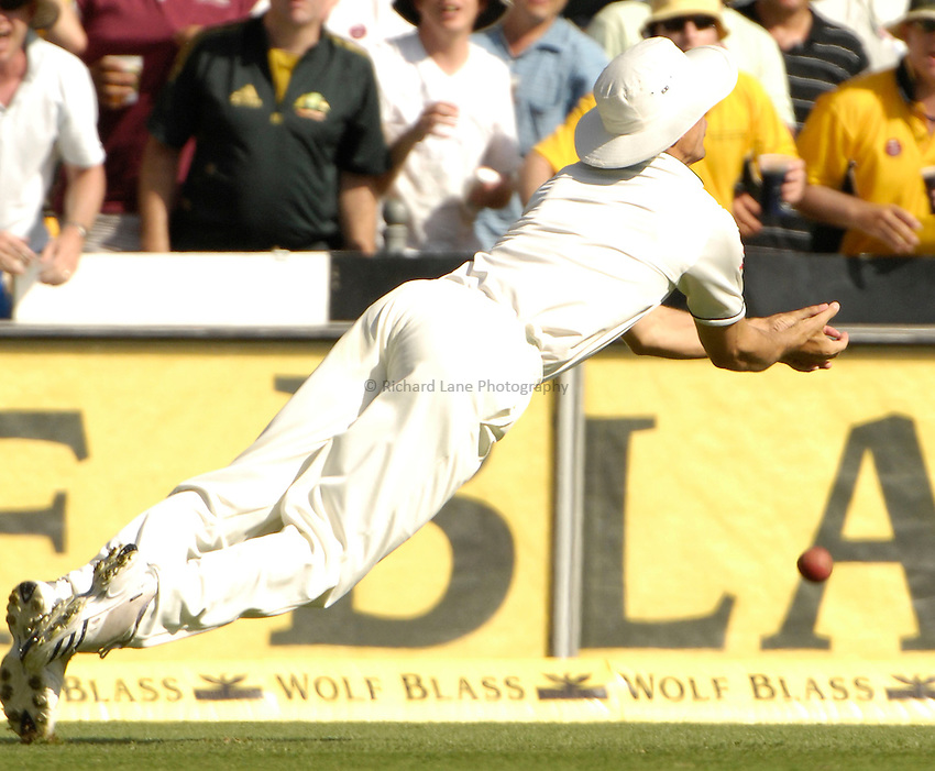 Photo: Steve Holland..Australia v England. 3 mobile Test Series, The Ashes 2006/07, 1st Test. 24/11/2006..England's Alastair Cook drops a catch.