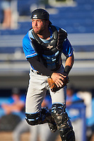 Hudson Valley Renegades catcher Daniel De La Calle (13) during a game against the Batavia Muckdogs on August 2, 2016 at Dwyer Stadium in Batavia, New York.  Batavia defeated Hudson Valley 2-1.  (Mike Janes/Four Seam Images)