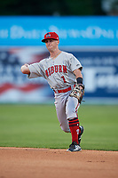 Auburn Doubledays second baseman Phil Caulfield (1) throws to first base during a NY-Penn League game against the Batavia Muckdogs on June 14, 2019 at Dwyer Stadium in Batavia, New York.  Batavia defeated 2-0.  (Mike Janes/Four Seam Images)