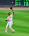 19 June 2011: Baltimore Orioles' outfielder Adam Jones in action against the Washington Nationals on Father's Day at Nationals Park in Washington, District of Columbia. The Orioles defeated the Nationals 7-4 in inter-league play, ending Washington's 8-game winning streak. Mandatory Credit: Ed Wolfstein Photo