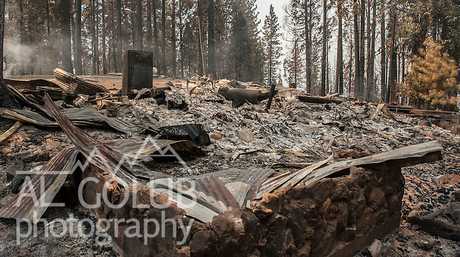 -- Rim Fire -- House lost on Packard Canyon Road near Yosemite National Park.