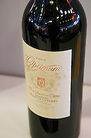 Bottle Chateau Bellevue La Foret, Fronton, cuvee Optimum. At the Vinordic wine trade show. Stockholm. Sweden, Europe.