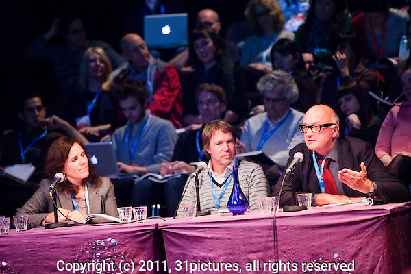 The Netherlands, Amsterdam, 21 November 2011. The International Documentary Film Festival Amsterdam 2011. The IDFA FORUM at Compagnietheater. Project I Will Be Murdered; from left; Sumpta Ayuso, Justin Webster, Nick Fraser. Photo: 31pictures.nl / (c) 2011, www.31pictures.nl