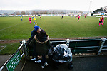Pickering fans kiss during a break in play. Stocksbridge Park Steels v Pickering Town,  Evo-Stik East Division, 17th November 2018. Stocksbridge Park Steels were born from the works team of the local British Steel plant that dominates the town north of Sheffield.<br />