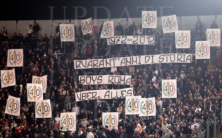 Calcio, Serie A: Roma vs Udinese. Roma, stadio Olimpico, 28 ottobre 2012..AS Roma fans show banners during the Italian Serie A football match between AS Roma and Udinese, at Rome, Olympic stadium, 28 October 2012..UPDATE IMAGES PRESS/Riccardo De Luca