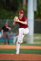 Boston College Eagles relief pitcher Jack Nelson (21) delivers a pitch during a game against the Minnesota Golden Gophers on February 23, 2018 at North Charlotte Regional Park in Port Charlotte, Florida.  Minnesota defeated Boston College 14-1.  (Mike Janes/Four Seam Images)