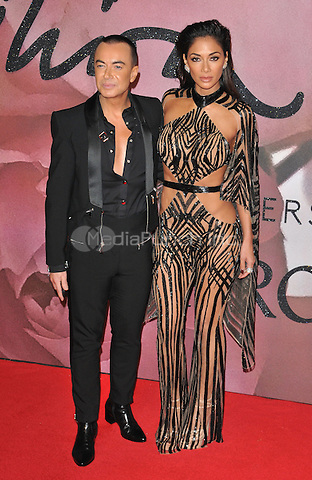 Julien Macdonald and Nicole Scherzinger at the Fashion Awards 2016, Royal Albert Hall, Kensington Gore, London, England, UK, on Monday 05 December 2016. <br /> CAP/CAN<br /> ©CAN/Capital Pictures /MediaPunch ***NORTH AND SOUTH AMERICAS ONLY***