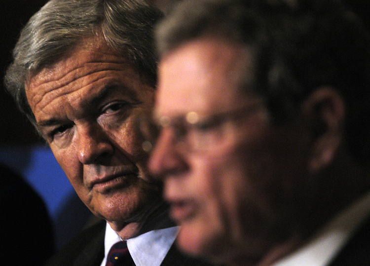 Sen. Kit Bond, R-Mo., and Sen. Jim Inhofe, R-Ok., at a press conference in support of passage of the Safe, Accountable, Flexible and Efficient Transportation Equity Act (SAFETEA) of 2003.