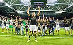 ***BETALBILD***  <br /> Solna 2015-07-26 Fotboll Allsvenskan AIK - IF Elfsborg :  <br /> AIK:s Alessandro Pereira med lagkamrater jublar framf&ouml;r AIK:s supportrar efter matchen mellan AIK och IF Elfsborg <br /> (Foto: Kenta J&ouml;nsson) Nyckelord:  AIK Gnaget Friends Arena Allsvenskan Elfsborg IFE jubel gl&auml;dje lycka glad happy supporter fans publik supporters