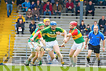 Willie O'Dwyer Kerry goes past John rogers left and Richard Coady Carlow in action Allianz Hurling league clash in Fitzgerald Stadium on Sunday