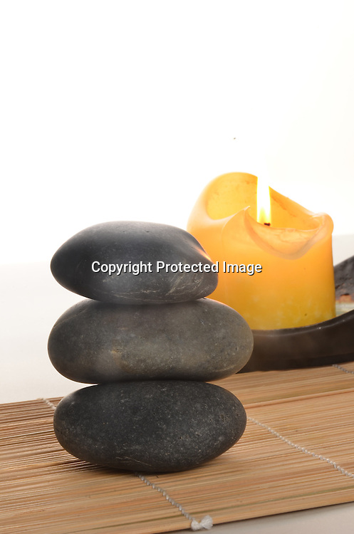 Holistic Setting with Rocks and Candle