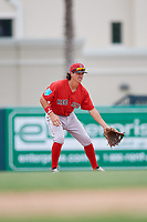 Boston Red Sox Ryan Fitzgerald (12) during a Florida Instructional League game against the Baltimore Orioles on October 8, 2018 at the Ed Smith Stadium in Sarasota, Florida.  (Mike Janes/Four Seam Images)