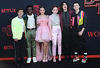 "28 June 2019 - Santa Monica, California - Gaten Matarazzo, Caleb McLaughlin, Millie Bobby Brown, Sadie Sink, Finn Wolfhard, Noah Schnapp. ""Stranger Things 3"" LA Premiere held at Santa Monica High School. <br /> CAP/ADM/BT<br /> ©BT/ADM/Capital Pictures"