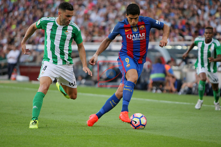 League Santander 2016/2017. Game: 1.<br /> FC Barcelona vs Real Betis: 6-2.<br /> Bruno vs Luis Suarez.