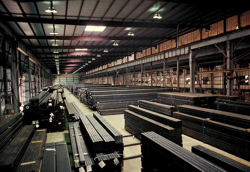 Tubular steel storage at steel fabrication plant. Birmingham Alabama, Copperweld.