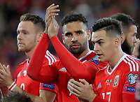 Hal Robson-Kanu of Wales (C) applauds the home crowd during the FIFA World Cup Qualifier Group D match between Wales and Republic of Ireland at The Cardiff City Stadium, Wales, UK. Monday 09 October 2017