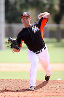 Miami Marlins pitcher Ben Holmes #47 during an intramural game on September 30, 2014 at Roger Dean Complex in Jupiter, Florida.  (Stacy Jo Grant/Four Seam Images)
