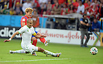 Madjid Bougherra (ALG), Son Heung-Min (KOR),<br /> JUNE 22, 2014 - Football / Soccer :<br /> Son Heung-Min of South Korea scores his team's first goal past Madjid Bougherra of Algeria during the FIFA World Cup Brazil 2014 Group H match between South Korea 2-4 Algeria at Estadio Beira-Rio in Porto Alegre, Brazil. (Photo by SONG Seak-In/AFLO)