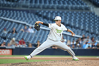 MacKenzie Gore (9) of the East Team pitches against the West Team during the Perfect Game All American Classic at Petco Park on August 14, 2016 in San Diego, California. West Team defeated the East Team, 13-0. (Larry Goren/Four Seam Images)