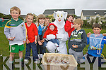 The Easter Bunny pictured here at Cracow Park, Valentia with l-r; Adam Quigley, Deirdre Quigley, Emma Quigley, James Quigley, Shauna Quigley, E.B., Sean Power, Oisin Power & Donnacha Lyne.