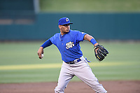 ***Temporary Unedited Reference File***Omaha Storm Chasers third baseman Angel Franco (16) during a game against the Memphis Redbirds on May 5, 2016 at AutoZone Park in Memphis, Tennessee.  Omaha defeated Memphis 5-3.  (Mike Janes/Four Seam Images)
