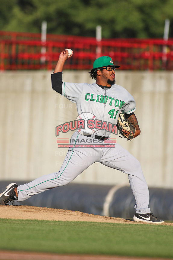 Clinton LumberKings pitcher Alberto Guerrero (41) during a Midwest League game against the Burlington Bees on August 28, 2019 at Community Field in Burlington, Iowa.  Clinton defeated Burlington 5-0.  (Travis Berg/Four Seam Images)