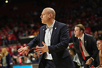 College Park, MD - March 23, 2019: Radford Highlanders head coach Mike McGuire calls a play during game between Radford and Maryland at  Xfinity Center in College Park, MD.  (Photo by Elliott Brown/Media Images International)