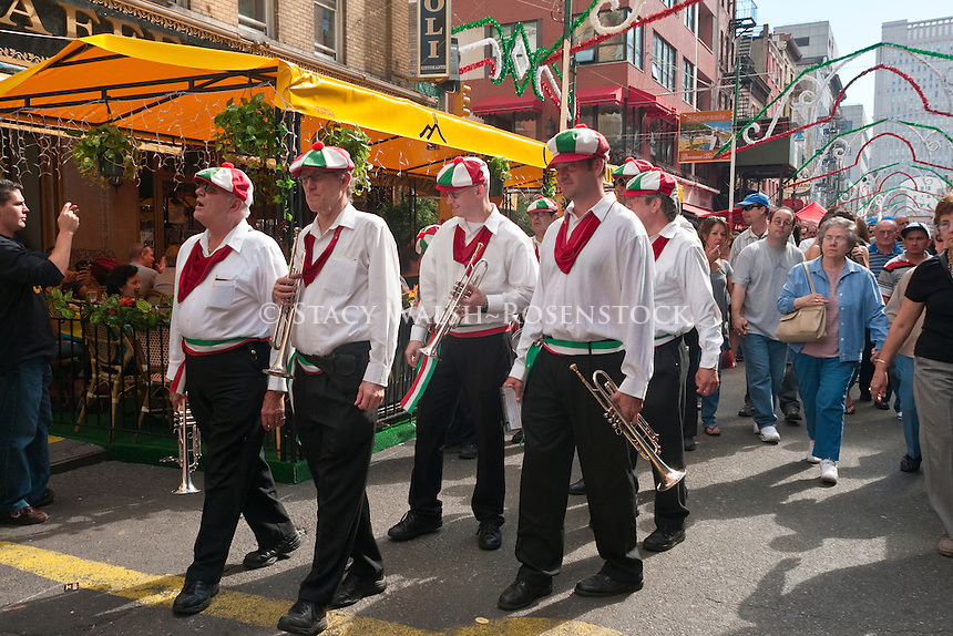 New York, NY -  18 September 2010 red Mike's Festival Band marches along Mulberry Street during the San Gennaro Italian Feast