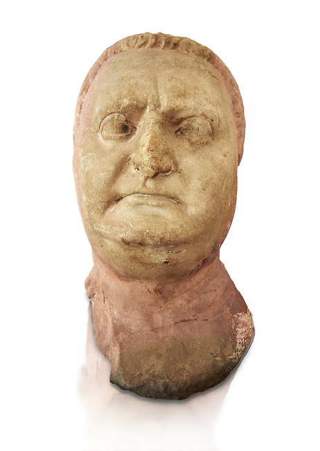 Roman sculpture of the Emperor Vitellius, excavated  from Althiburos sculpted circa 20 April 69-20 Dec 69AD. The Bardo National Museum, Tunis, Inv No: C.1784.  Against a white background.