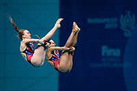 Picture by Rogan Thomson/SWpix.com - 16/07/2017 - Diving - Fina World Championships 2017 -  Duna Arena, Budapest, Hungary - Lois Toulson and Tonia Couch of Great Britain compete in the Women's 10m Synchro Platform Final.