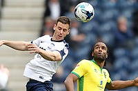 Preston North End's Marnick Vermijl jumps with Norwich City's Cameron Jerome<br /> <br /> Photographer Mick Walker/CameraSport<br /> <br /> The EFL Sky Bet Championship - Preston North End v Norwich City - Monday 17th April 2017 - Deepdale - Preston<br /> <br /> World Copyright &copy; 2017 CameraSport. All rights reserved. 43 Linden Ave. Countesthorpe. Leicester. England. LE8 5PG - Tel: +44 (0) 116 277 4147 - admin@camerasport.com - www.camerasport.com