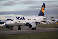 A Lufthansa Airbus A319-112 Registration D-AIBH named Herborn at Manchester Airport on 11.2.19 going to Frankfurt Rhein-Main International Airport, Germany.