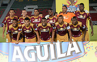 IBAGUÉ -COLOMBIA, 05-03-2016: Jugadores del Deportes Tolima posan para una foto previo al encuentro con Atlético Bucaramanga por la fecha 8 de la Liga Aguila I 2016 jugado en el estadio Manuel Murillo Toro de la ciudad de Ibagué./ Players of Deportes Tolima pose to a photo prior the match against Atletico Bucaramanga for the date 8 of the Aguila League I 2016 played at Manuel Murillo Toro stadium in Ibague city. Photo: VizzorImage / Juan Carlos Escobar / Str