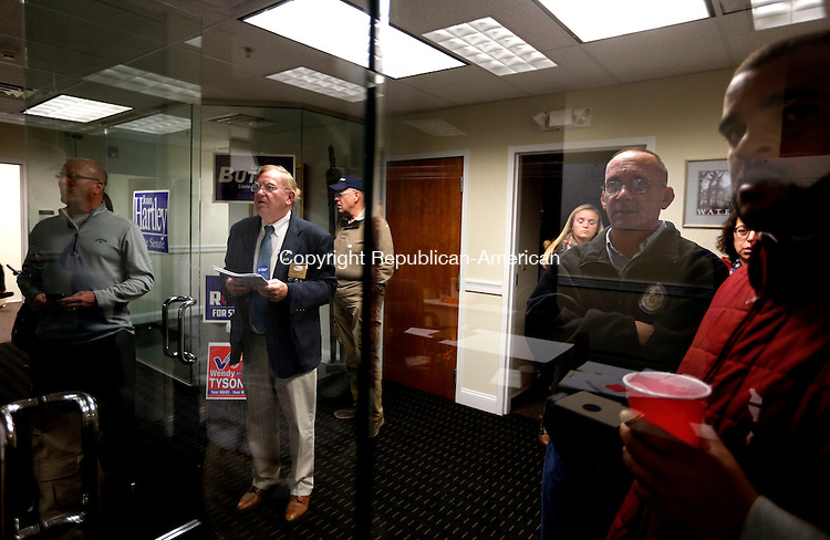 Waterbury, CT- 08 November 2016-110816CM10-  Supporters watch as the results come in for the 73rd House seat at the Democratic headquarters on Bank Street in Waterbury on Tuesday,  Incumbent State Rep. Candidate Jeffrey Berger, D-73rd defeated Republican challenger, Steve Giacomi.   Christopher Massa Republican-American