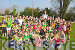 Young footballers from Currow who welcomed their hero Kerry footballer Seamus Scanlon when he arrived with the Sam Maguire cup to Currow GAA club on Saturday morning