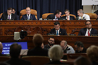 United States Representative Adam Schiff (Democrat of California), Chairman, US House Permanent Select Committee on Intelligence (2nd left) speaks while Republican members of the committee confer during the former U.S. Ambassador to Ukraine Marie Yovanovitch's  testimony before the House Intelligence Committee in the Longworth House Office Building on Capitol Hill November 15, 2019 in Washington, DC. In the second impeachment hearing held by the committee, House Democrats continue to build a case against US President Donald J. Trump's efforts to link U.S. military aid for Ukraine to the nation's investigation of his political rivals. Also pictured are Daniel Goldman, attorney for the Democrats, US Representative Devin Nunes (Republican of California), Ranking Member, US House Permanent Select Committee on Intelligence, minority counsel Steve Castor and US Representative Jim Jordan (Republican of Ohio)<br /> Credit: Alex Wong / Pool via CNP/AdMedia
