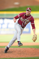 Relief pitcher Jimmy Marshall #26 of the Florida State Seminoles follows through on his delivery versus the Miami Hurricanes at Durham Bulls Athletic Park May 21, 2009 in Durham, North Carolina.  (Photo by Brian Westerholt / Four Seam Images)