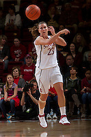 STANFORD, CA - February 26, 2011:  Jeanette Pohlen passes down court during Stanford's 99-60 victory over Oregon at Stanford, California on February 26, 2011.