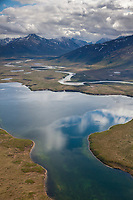 Aerial of Lake Matcharak and the Noatak River in the Brooks Range, Gates of the Arctic National Park, Alaska.