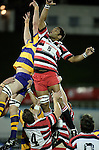 Waka Setitaia competes for lineout ball. Counties Manukau Steelers vs Bay of Plenty Steamers warm up game played at Mt Smart Stadium on 14th of July 2006. Counties Manukau won 25 - 20.