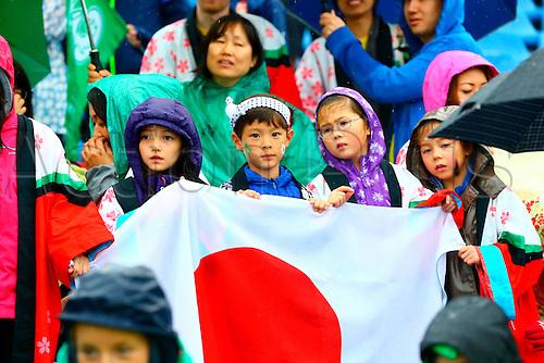 23.08.2015. Dublin, Ireland. Women's Sevens Series Qualifier 2015. Japan versus Ireland<br /> Some Japanese children cheer on their team.