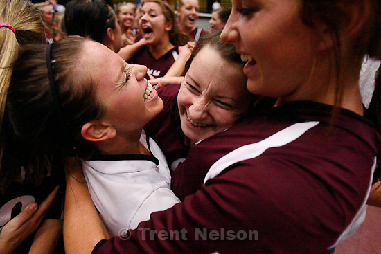 Trent Nelson  |  The Salt Lake Tribune.Morgan's Jaesee Dye, Ashlee Gallen and Bailey Farris celebrate the championship as Morgan takes the 3A state high school volleyball championship, defeating Snow Canyon 3-0 at Utah Valley University in Orem, UT on Friday, October 28, 2011.
