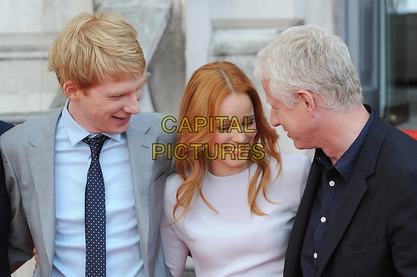 Domhnall Gleeson, Rachel McAdams and Richard Curtis<br /> attends the World Premiere of &quot;About Time&quot;, Somerset House, London, UK, 8th August 2013.<br /> half length blue suit tie shirt white grey gray long maxi cast director looking down funny laughing <br /> CAP/BEL<br /> &copy;Tom Belcher/Capital Pictures